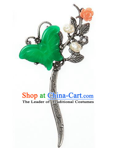 Korean National Wedding Hair Accessories Bride Green Butterfly Hair Clip, Korean Hanbok Fashion Palace Hairpins for Women