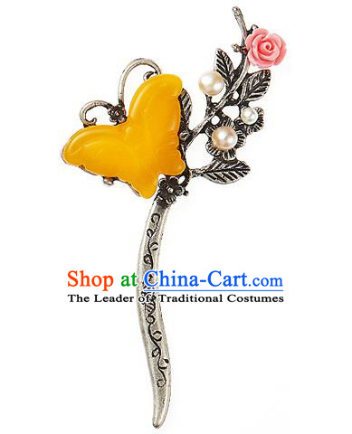 Korean National Wedding Hair Accessories Bride Yellow Butterfly Hair Clip, Korean Hanbok Fashion Palace Hairpins for Women