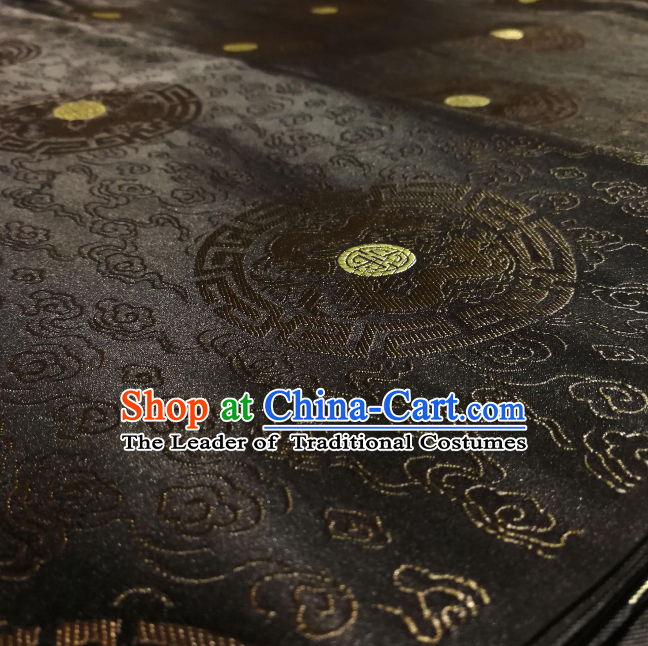 Black Color Chinese Royal Palace Style Traditional Round Dragon Pattern Design Brocade Fabric Silk Fabric Chinese Fabric Asian Material