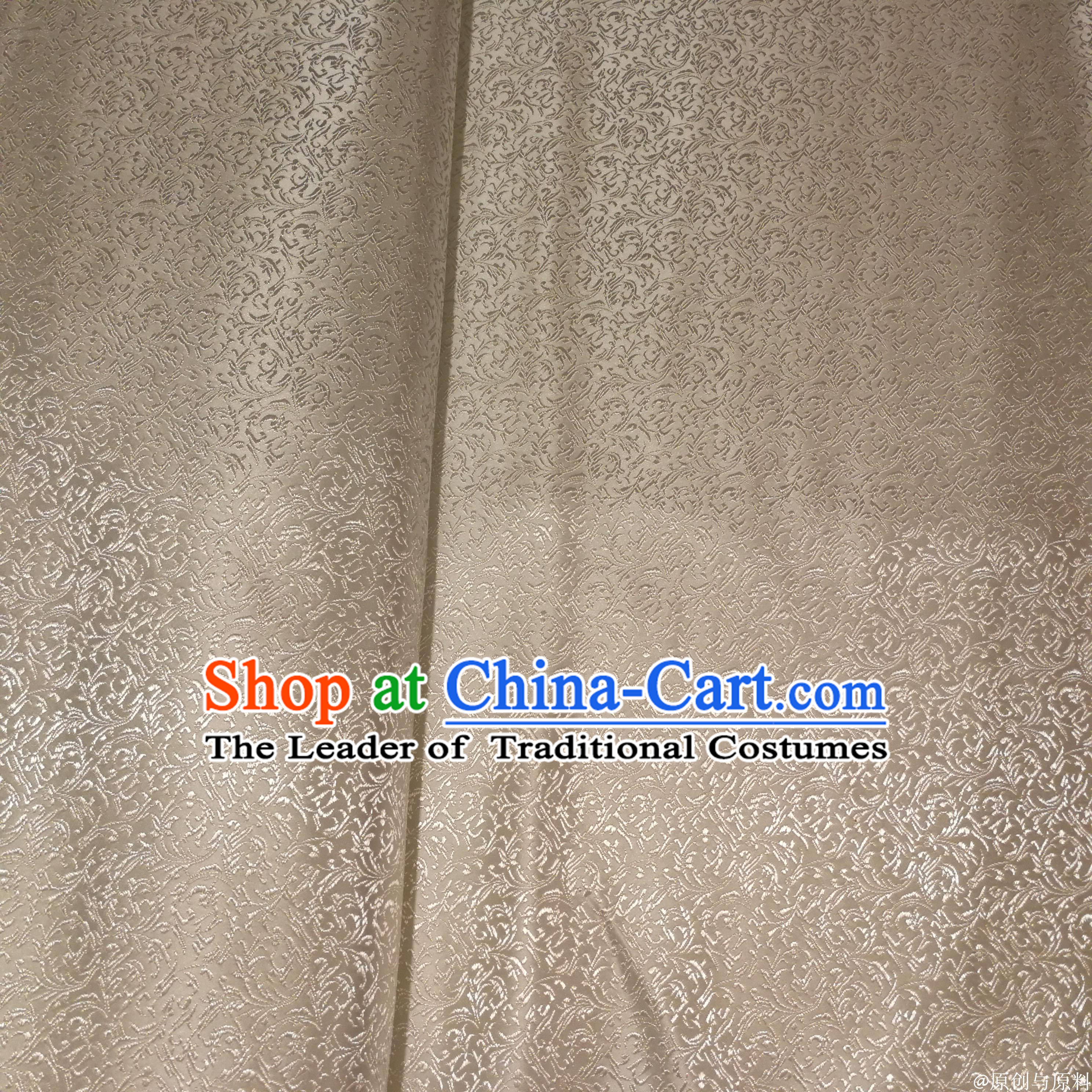White Color Chinese Royal Palace Style Traditional Pattern Flower Design Brocade Fabric Silk Fabric Chinese Fabric Asian Material
