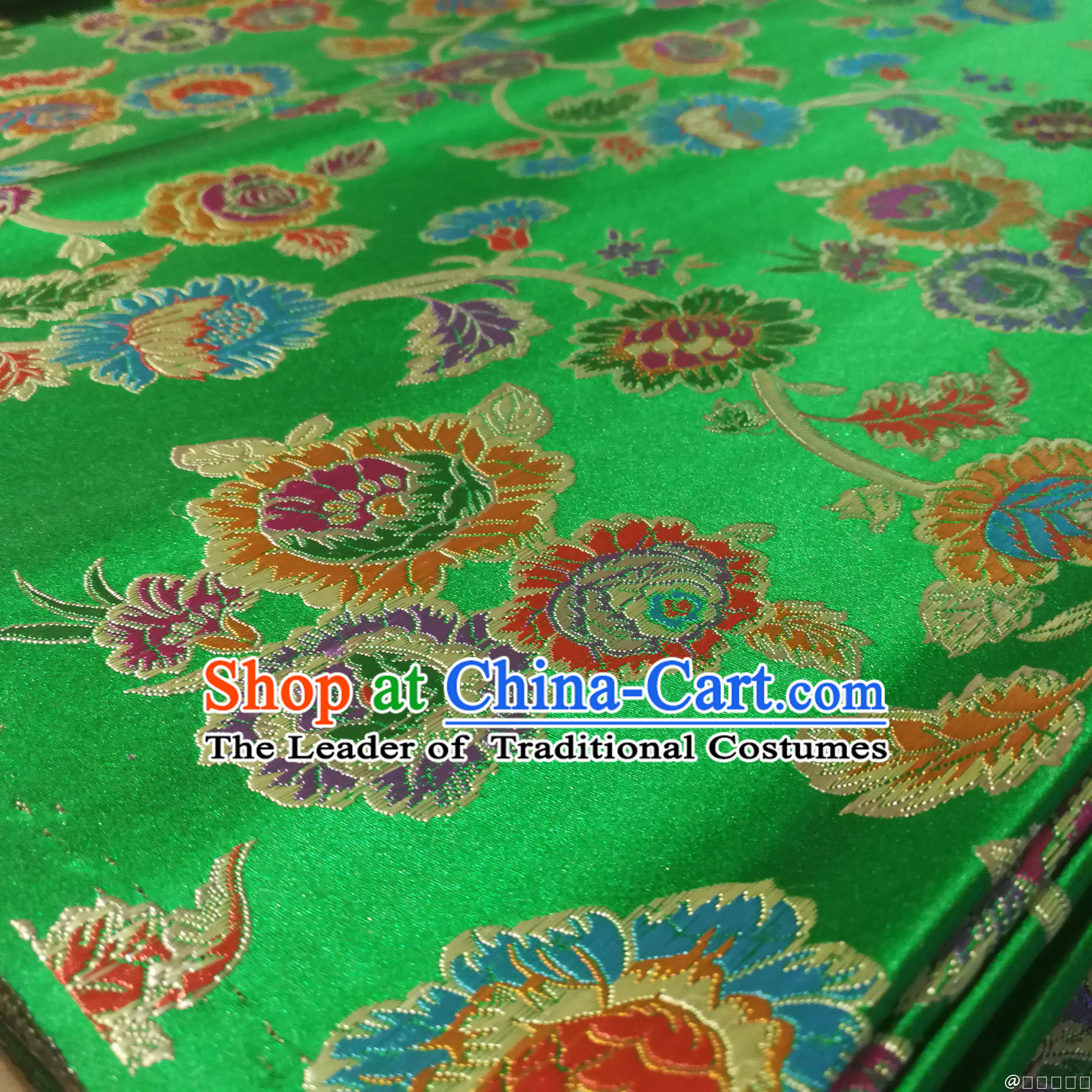 Green Color Chinese Royal Palace Style Traditional Pattern Peony Flower Design Brocade Fabric Silk Fabric Chinese Fabric Asian Material