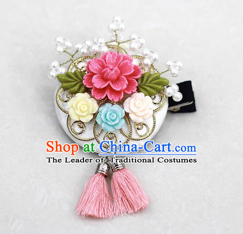 Korean National Hair Accessories Flower Tassel Hair Stick, Asian Korean Hanbok Fashion Headwear Headband for Kids