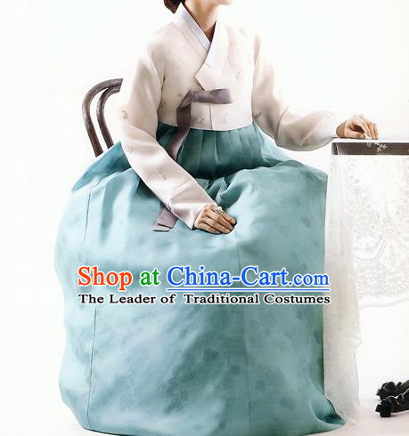 Asian Korean National Handmade Formal Occasions Wedding Bride Clothing White Embroidered Blouse and Green Dress Palace Hanbok Costume for Women