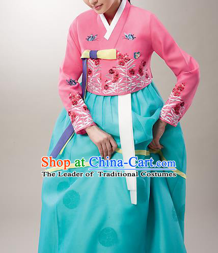 Asian Korean National Handmade Formal Occasions Wedding Bride Clothing Embroidered Pink Blouse and Green Dress Palace Hanbok Costume for Women