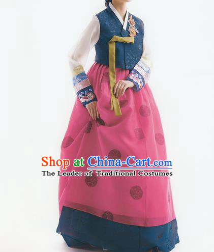 Korean National Handmade Formal Occasions Wedding Bride Clothing Embroidered Blue Blouse and Rosy Dress Palace Hanbok Costume for Women