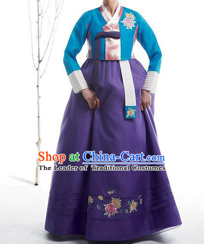 Asian Korean National Handmade Formal Occasions Wedding Bride Clothing Embroidered Blue Blouse and Purple Dress Palace Hanbok Costume for Women