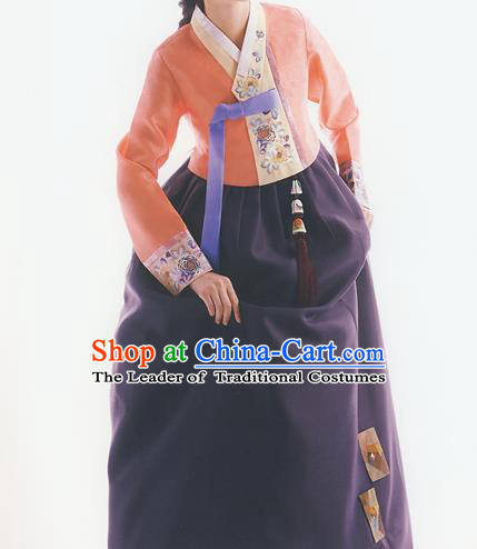 Korean National Handmade Formal Occasions Wedding Bride Clothing Embroidered Orange Blouse and Purple Dress Palace Hanbok Costume for Women