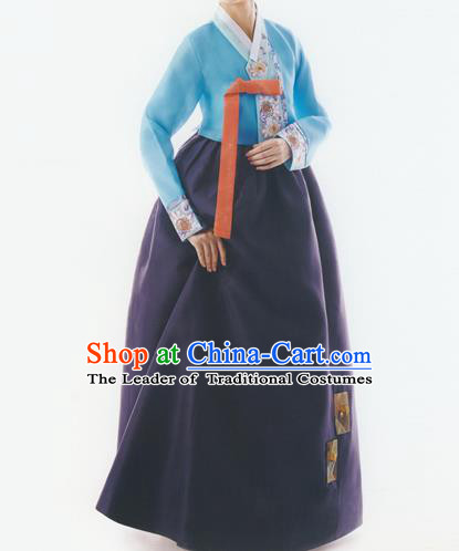 Korean National Handmade Formal Occasions Wedding Bride Clothing Embroidered Blue Blouse and Purple Dress Palace Hanbok Costume for Women