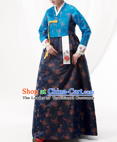 Asian Korean National Handmade Formal Occasions Wedding Bride Clothing Embroidered Blue Blouse and Navy Dress Palace Hanbok Costume for Women