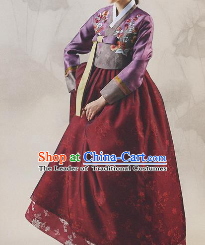 Asian Korean National Handmade Formal Occasions Wedding Bride Clothing Embroidered Red Blouse and Blue Dress Palace Hanbok Costume for Women