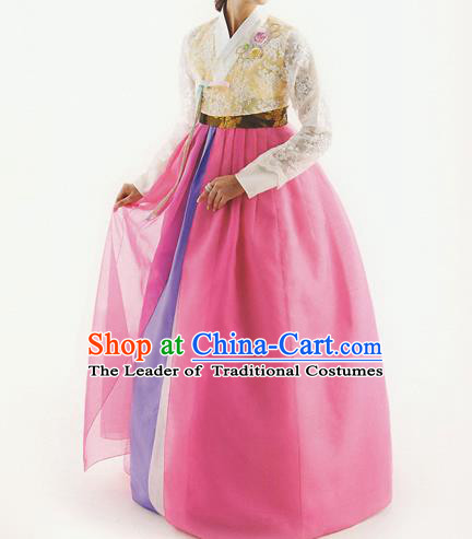 Korean National Handmade Formal Occasions Wedding Bride Clothing Hanbok Costume Embroidered Yellow Lace Blouse and Pink Dress for Women