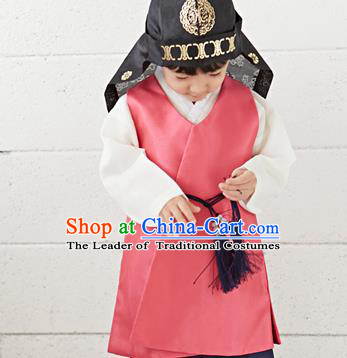 Asian Korean National Traditional Handmade Formal Occasions Boys Embroidery Watermelon Red Vest Hanbok Costume Complete Set for Kids