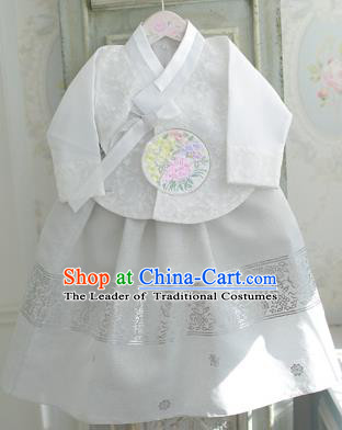 Asian Korean National Handmade Formal Occasions Wedding Bride Clothing Embroidered White Blouse and Dress Palace Hanbok Costume for Kids