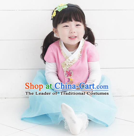 Asian Korean National Handmade Formal Occasions Wedding Bride Clothing Embroidered Pink Blouse and Blue Dress Palace Hanbok Costume for Kids