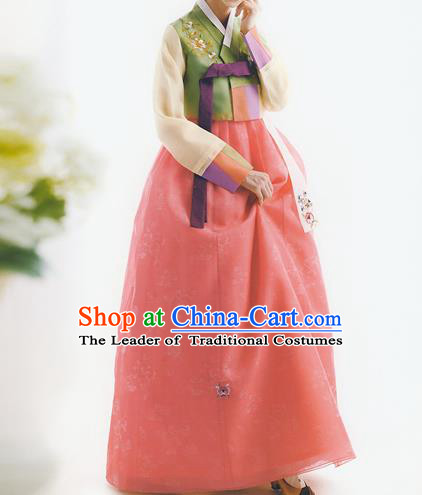 Korean National Handmade Formal Occasions Wedding Bride Clothing Embroidered Green Blouse and Pink Dress Palace Hanbok Costume for Women