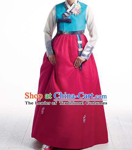 Asian Korean National Handmade Formal Occasions Wedding Bride Clothing Embroidered Blue Blouse and Rosy Dress Palace Hanbok Costume for Women