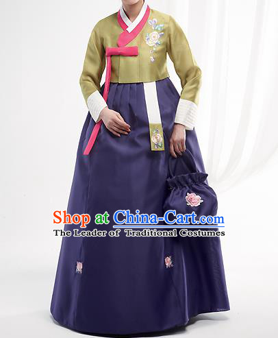 Asian Korean National Handmade Formal Occasions Wedding Bride Clothing Embroidered Green Blouse and Blue Dress Palace Hanbok Costume for Women