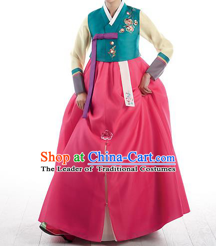 Korean National Handmade Formal Occasions Wedding Bride Clothing Embroidered Green Blouse and Red Dress Palace Hanbok Costume for Women