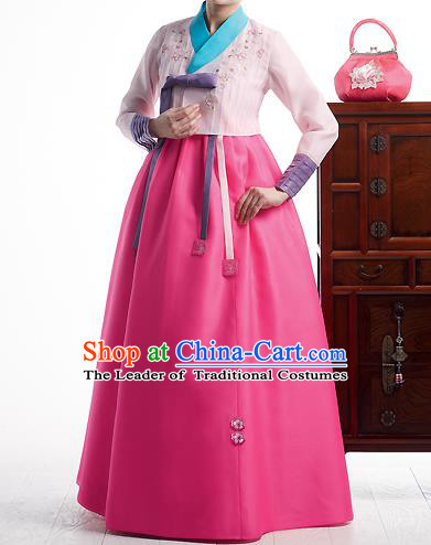 Asian Korean National Handmade Formal Occasions Wedding Bride Clothing Embroidered Pink Blouse and Dress Palace Hanbok Costume for Women