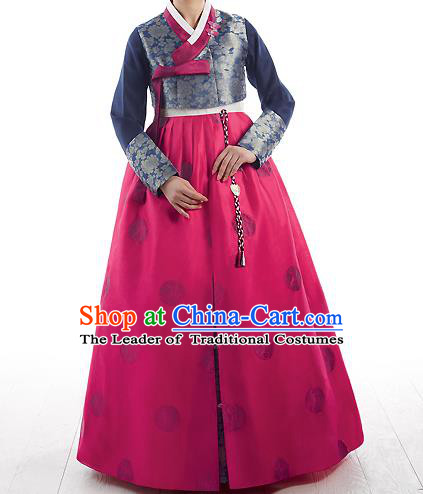 Asian Korean National Handmade Formal Occasions Wedding Bride Clothing Embroidered Dark Green Blouse and Pink Dress Palace Hanbok Costume for Women