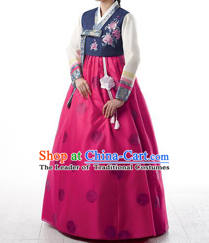 Asian Korean National Handmade Formal Occasions Wedding Bride Clothing Embroidered Purple Blouse and Pink Dress Palace Hanbok Costume for Women