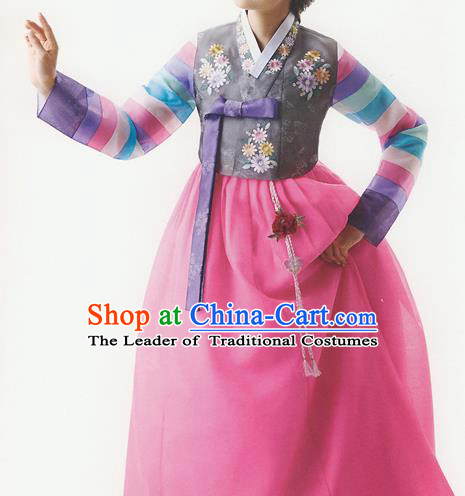 Korean National Handmade Formal Occasions Wedding Bride Clothing Embroidered Grey Blouse and Pink Dress Palace Hanbok Costume for Women