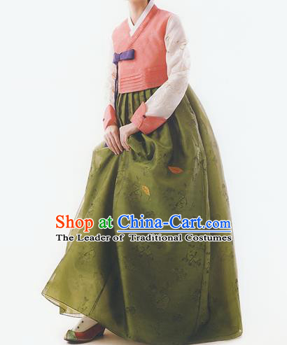 Korean National Handmade Formal Occasions Wedding Bride Clothing Embroidered Pink Blouse and Green Dress Palace Hanbok Costume for Women