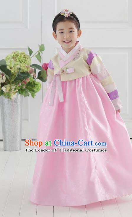 Korean National Handmade Formal Occasions Wedding Bride Clothing Embroidered Beige Blouse and Pink Dress Palace Hanbok Costume for Kids