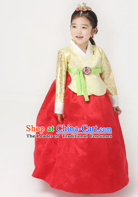 Korean National Handmade Formal Occasions Wedding Bride Clothing Embroidered Yellow Blouse and Red Dress Palace Hanbok Costume for Kids