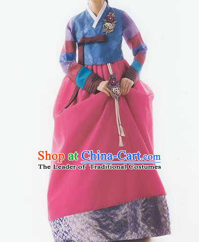 Korean National Handmade Formal Occasions Wedding Bride Clothing Embroidered Blue Blouse and Red Dress Palace Hanbok Costume for Women