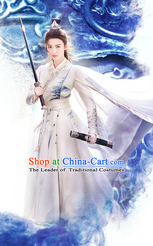 Traditional Chinese Southern and Northern Dynasties Female Swordsman Clothing, Asian China Ancient Heroine Costume for Women