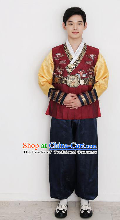 Asian Korean National Traditional Handmade Formal Occasions Bridegroom Embroidery Red Vest Hanbok Costume Complete Set for Men
