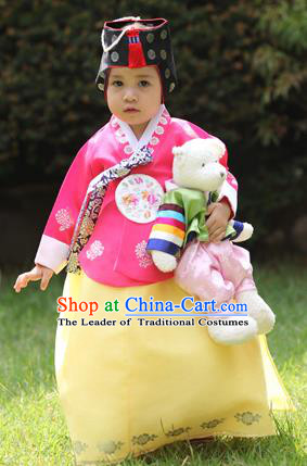 Asian Korean National Handmade Formal Occasions Wedding Bride Clothing Embroidered Pink Blouse and Yellow Dress Palace Hanbok Costume for Kids