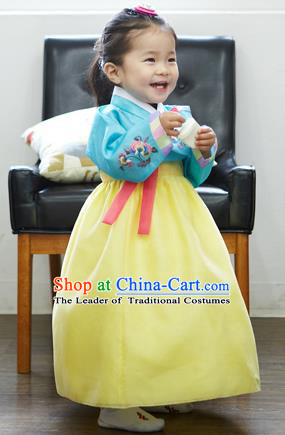Asian Korean National Handmade Formal Occasions Wedding Bride Clothing Embroidered Blue Blouse and Yellow Dress Palace Hanbok Costume for Kids