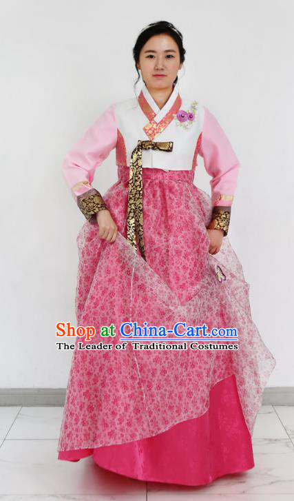 Asian Korean National Handmade Formal Occasions Wedding Bride Clothing Embroidered White Blouse and Pink Dress Palace Hanbok Costume for Women