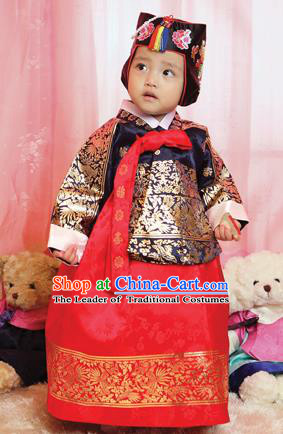 Asian Korean National Handmade Formal Occasions Wedding Bride Clothing Embroidered Black Blouse and Red Dress Palace Hanbok Costume for Kids
