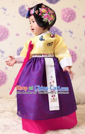 Asian Korean National Handmade Formal Occasions Clothing Embroidered Yellow Blouse and Purple Dress Palace Hanbok Costume for Kids