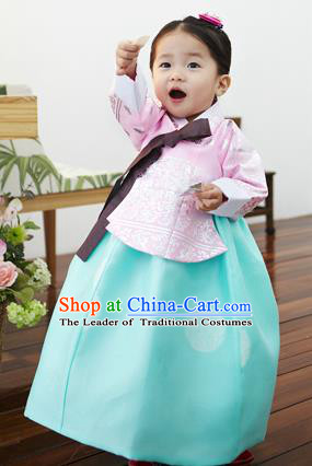 Asian Korean National Handmade Formal Occasions Clothing Embroidered Pink Blouse and Green Dress Palace Hanbok Costume for Kids