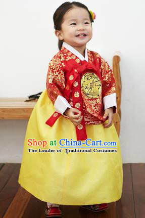 Asian Korean National Handmade Formal Occasions Clothing Embroidered Red Blouse and Yellow Dress Palace Hanbok Costume for Kids