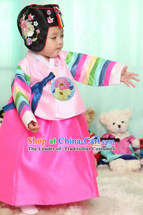 Asian Korean National Handmade Formal Occasions Clothing Embroidered Pink Blouse and Dress Palace Hanbok Costume for Kids