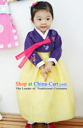 Asian Korean National Handmade Formal Occasions Clothing Embroidered Purple Blouse and Yellow Dress Palace Hanbok Costume for Kids