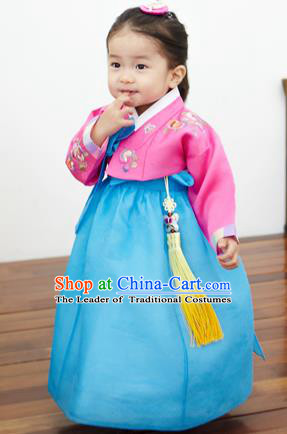 Asian Korean National Handmade Formal Occasions Clothing Embroidered Pink Blouse and Blue Dress Palace Hanbok Costume for Kids