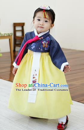 Asian Korean National Handmade Formal Occasions Clothing Embroidered Navy Blouse and Yellow Dress Palace Hanbok Costume for Kids