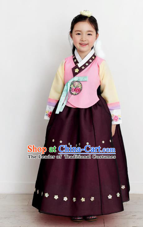 Asian Korean National Handmade Formal Occasions Wedding Bride Clothing Embroidered Pink Blouse and Purple Dress Palace Hanbok Costume for Kids