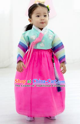 Asian Korean National Handmade Formal Occasions Clothing Embroidered Blue Blouse and Rosy Dress Palace Hanbok Costume for Kids