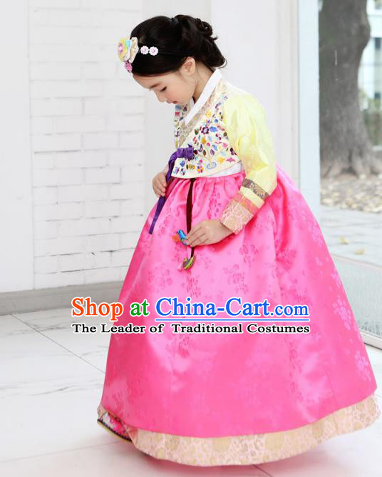 Asian Korean National Handmade Formal Occasions Wedding Bride Clothing Embroidered Yellow Blouse and Pink Dress Palace Hanbok Costume for Kids