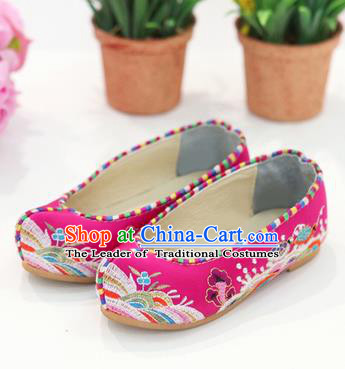 Traditional Korean National Wedding Shoes Embroidered Shoes, Asian Korean Hanbok Flat Shoes for Kids