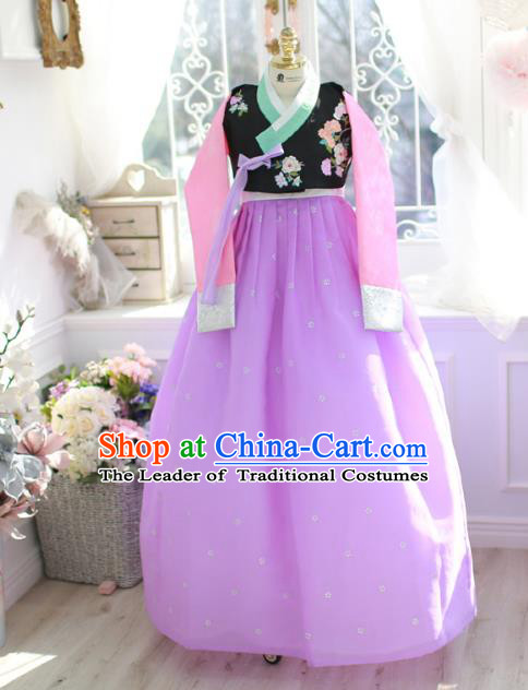 Korean National Handmade Formal Occasions Bride Clothing Hanbok Costume Embroidered Black Blouse and Purple Dress for Women