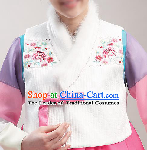 Asian Korean National Handmade Formal Occasions Wedding Bride Clothing Embroidered White Waistcoat Hanbok Costume for Women