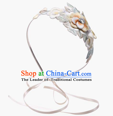 Korean National Hair Accessories Embroidered Headband, Asian Korean Hanbok Fashion Bride Headwear Hair Clasp for Kids